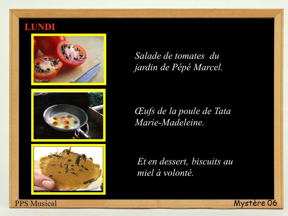Salade de tomates du jardin de Pépé Marcel.Œufs de la poule de Tata Marie-Madeleine.