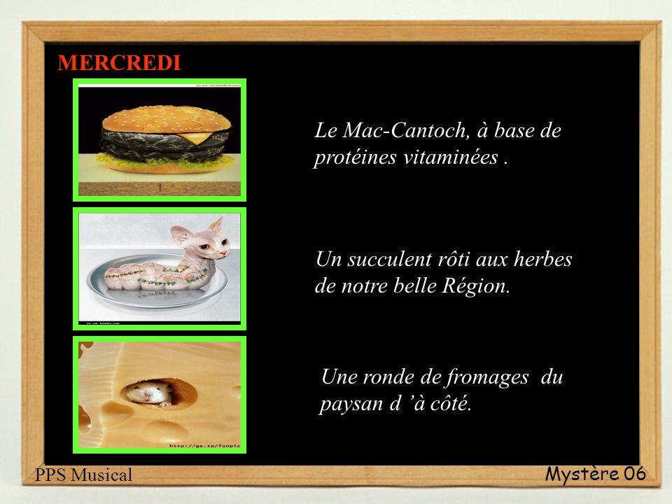 Mystère 06 Petit sandwich farci. ( spécialité régionale ) Ragondin de Provence avec patates de Sœur Simone. Sucettes glacées, parfum vanille ou chocol