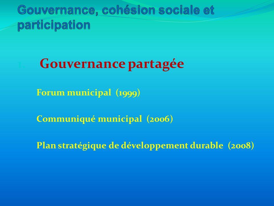 1. Gouvernance partagée Forum municipal (1999) Communiqué municipal (2006) Plan stratégique de développement durable (2008)