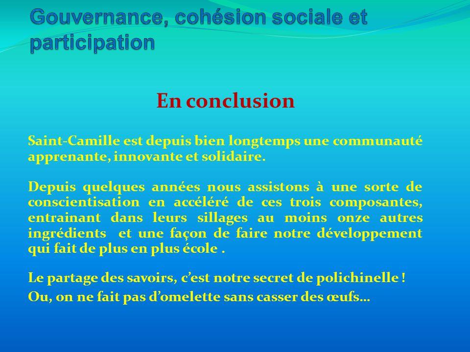En conclusion Saint-Camille est depuis bien longtemps une communauté apprenante, innovante et solidaire. Depuis quelques années nous assistons à une s