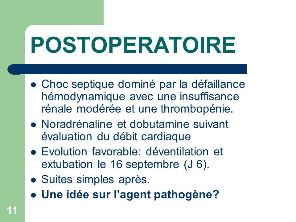 11 POSTOPERATOIRE Choc septique dominé par la défaillance hémodynamique avec une insuffisance rénale modérée et une thrombopénie.