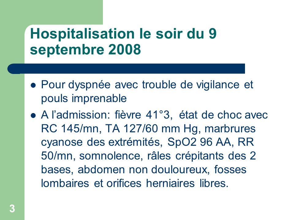 4 Examens complémentaires Radiographie thoracique: émoussement du cul de sac gauche ECG: tachycardie sinusale Biologie: acidose métabolique compensée avec hyperlactatémie 9,3 mmol/l, créatinémie 113 micmol/l, leucocytose 8,6 giga/l, CRP 168 mg/l, TP 35%, plaquettes 374 giga/l.
