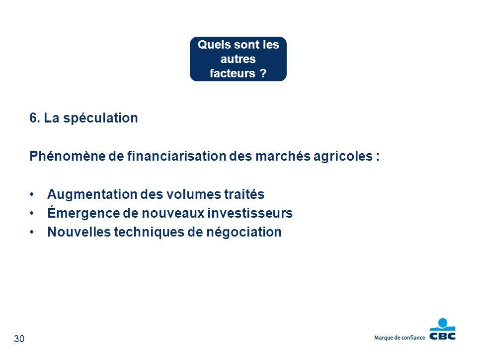 6. La spéculation Phénomène de financiarisation des marchés agricoles : Augmentation des volumes traités Émergence de nouveaux investisseurs Nouvelles