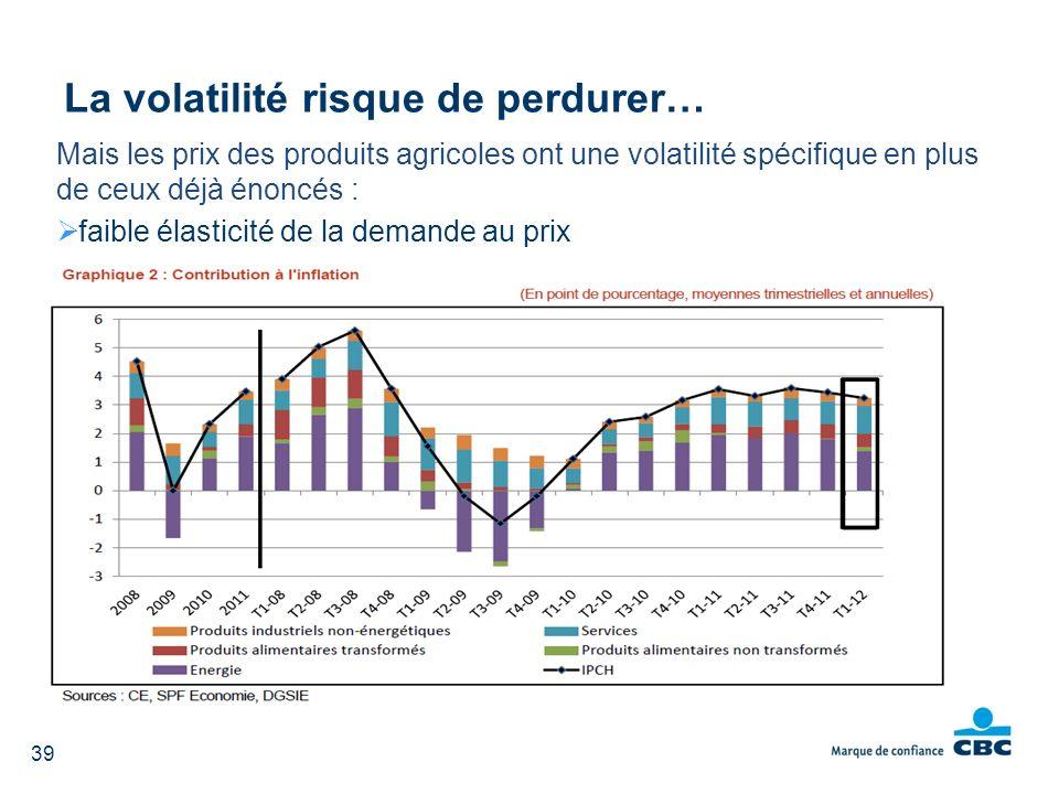 Mais les prix des produits agricoles ont une volatilité spécifique en plus de ceux déjà énoncés : faible élasticité de la demande au prix La volatilit