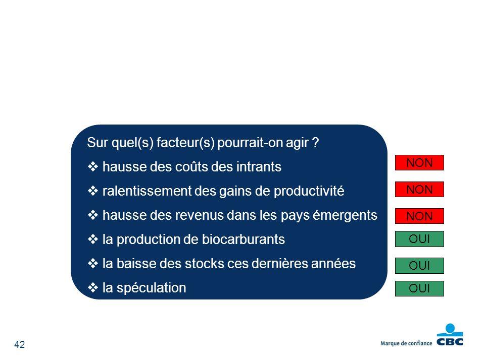 Sur quel(s) facteur(s) pourrait-on agir ? hausse des coûts des intrants ralentissement des gains de productivité hausse des revenus dans les pays émer