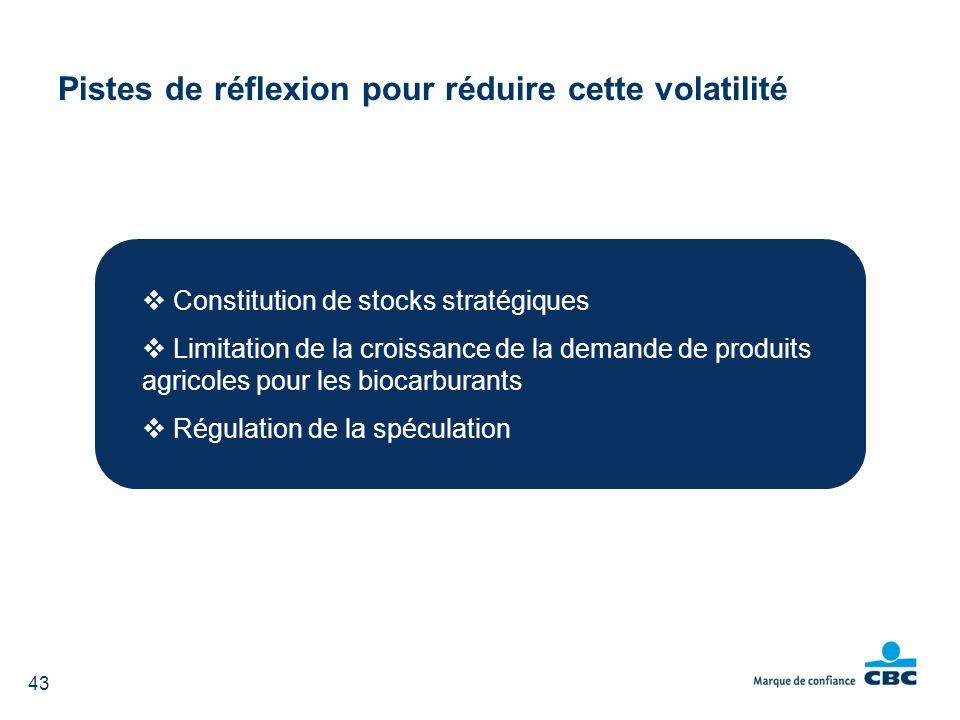 Pistes de réflexion pour réduire cette volatilité Constitution de stocks stratégiques Limitation de la croissance de la demande de produits agricoles