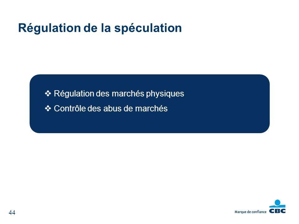 Régulation de la spéculation Régulation des marchés physiques Contrôle des abus de marchés 44