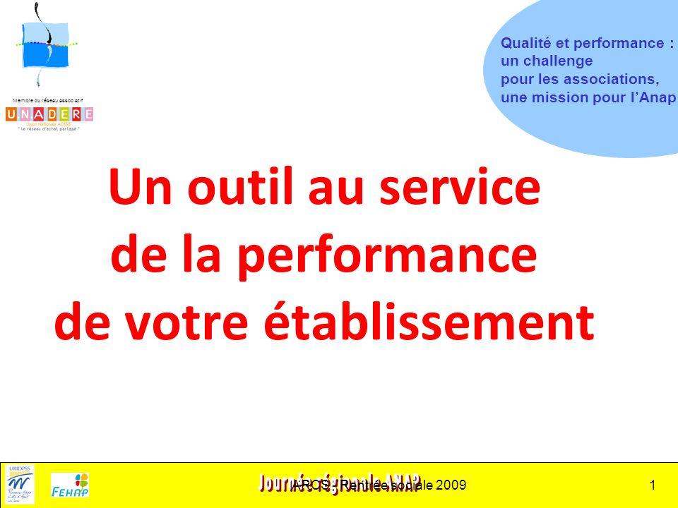 Membre du réseau associatif ARCS - Rentrée sociale 20091 Un outil au service de la performance de votre établissement Qualité et performance : un challenge pour les associations, une mission pour lAnap