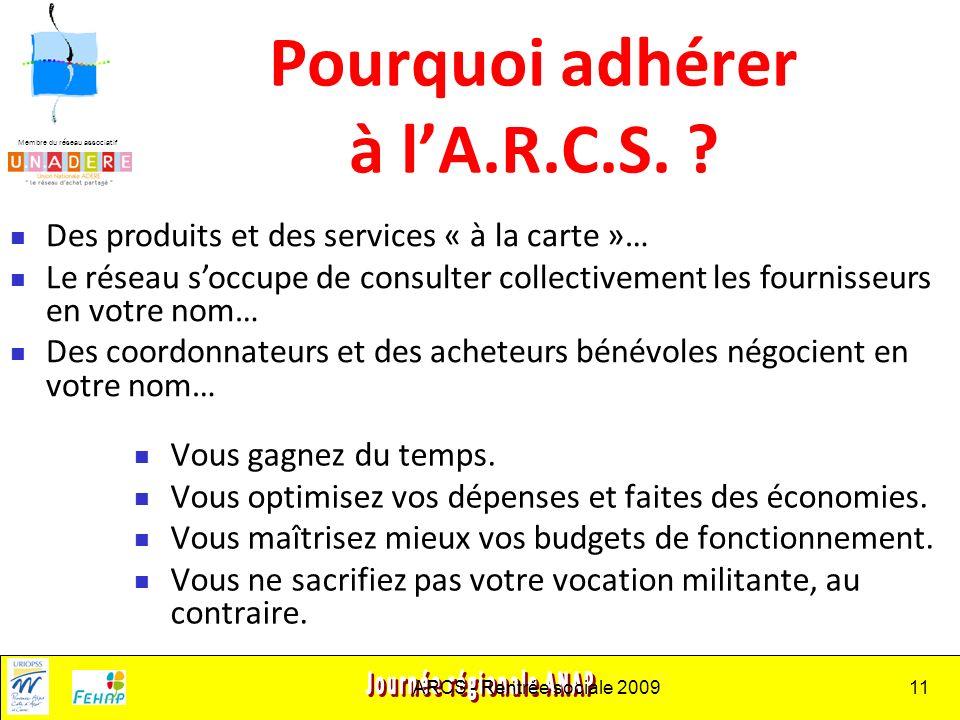 Membre du réseau associatif ARCS - Rentrée sociale 200911 Pourquoi adhérer à lA.R.C.S.