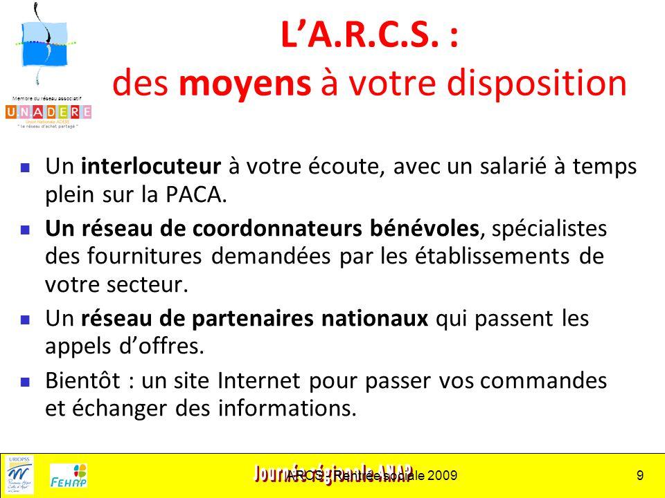 Membre du réseau associatif ARCS - Rentrée sociale 20099 LA.R.C.S.