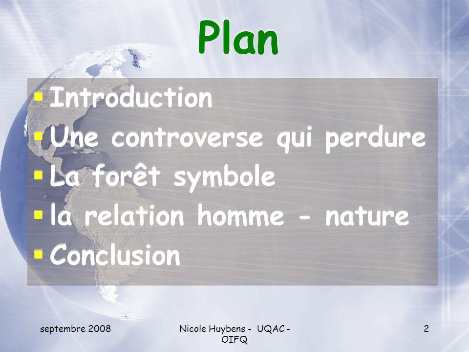 septembre 2008Nicole Huybens - UQAC - OIFQ 2 Plan Introduction Une controverse qui perdure La forêt symbole la relation homme - nature Conclusion Intr