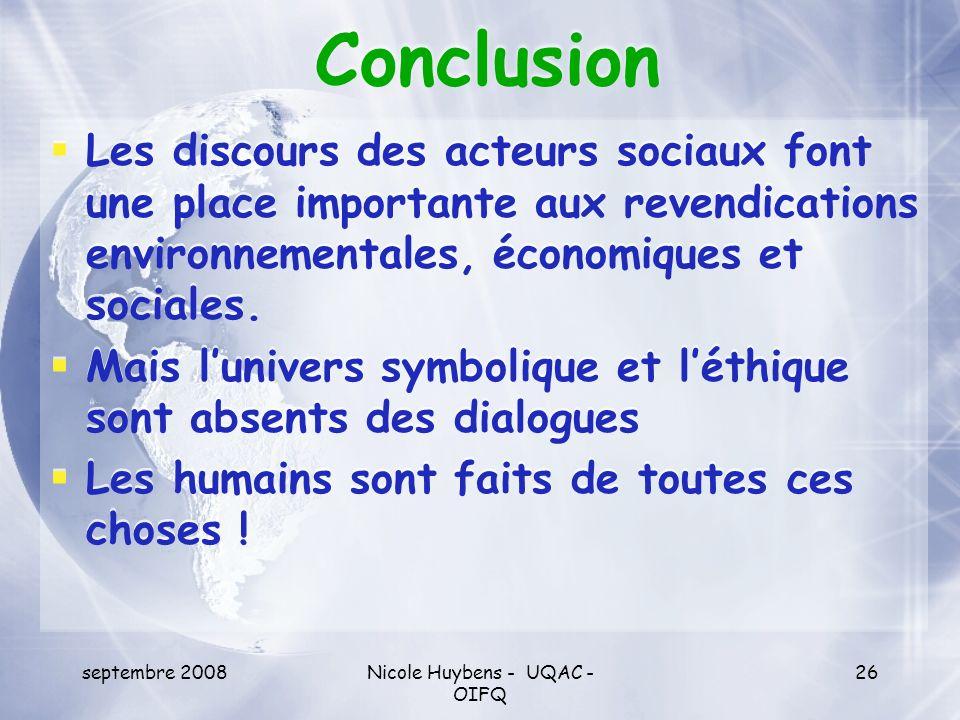 septembre 2008Nicole Huybens - UQAC - OIFQ 26 Conclusion Les discours des acteurs sociaux font une place importante aux revendications environnemental