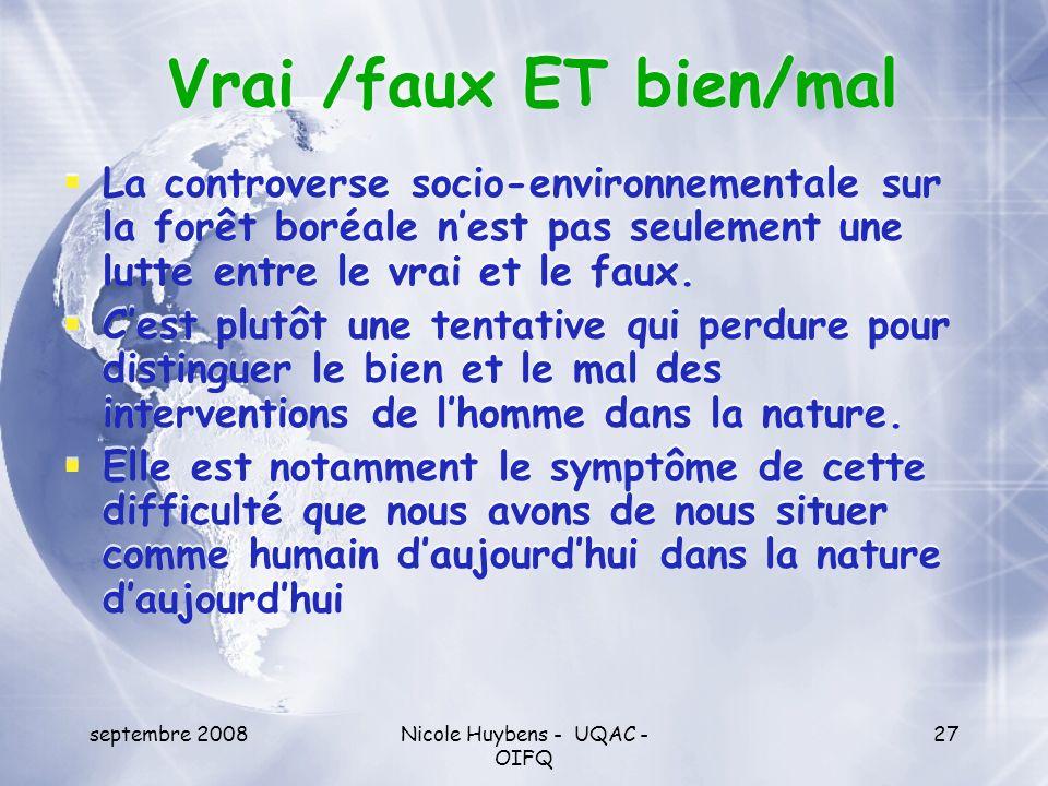septembre 2008Nicole Huybens - UQAC - OIFQ 27 Vrai /faux ET bien/mal La controverse socio-environnementale sur la forêt boréale nest pas seulement une