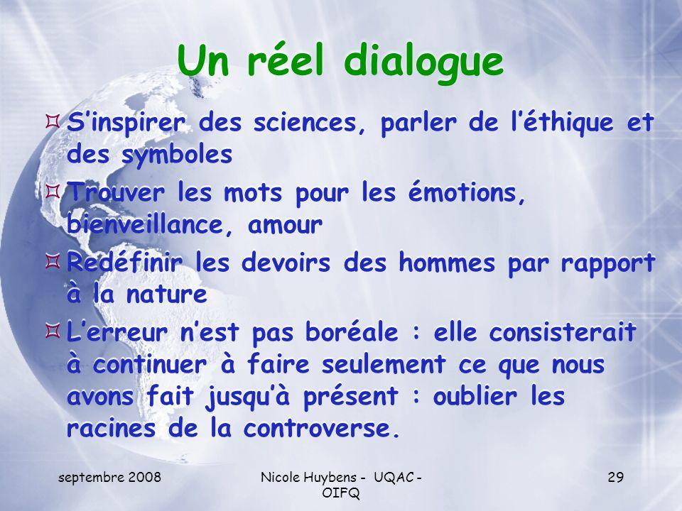 septembre 2008Nicole Huybens - UQAC - OIFQ 29 Un réel dialogue Sinspirer des sciences, parler de léthique et des symboles Trouver les mots pour les ém