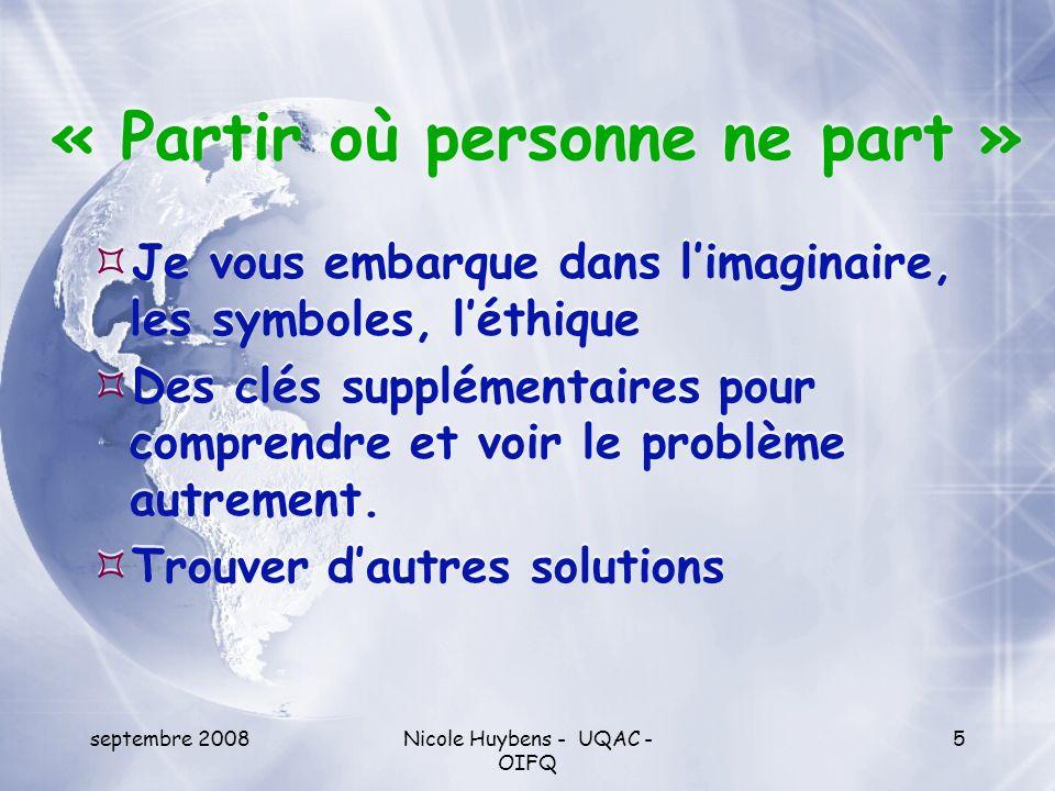 septembre 2008Nicole Huybens - UQAC - OIFQ 26 Conclusion Les discours des acteurs sociaux font une place importante aux revendications environnementales, économiques et sociales.
