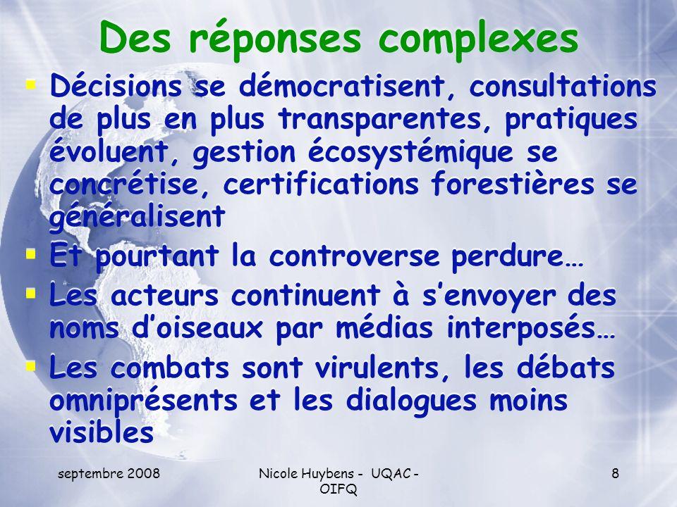 septembre 2008Nicole Huybens - UQAC - OIFQ 8 Des réponses complexes Décisions se démocratisent, consultations de plus en plus transparentes, pratiques