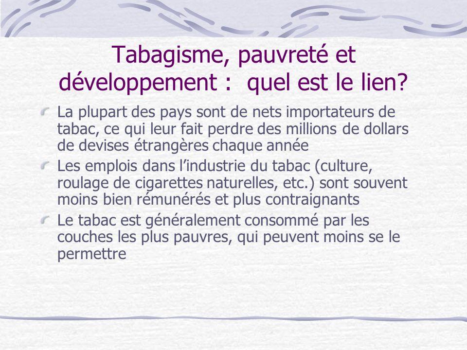 Tabagisme, pauvreté et développement : quel est le lien? La plupart des pays sont de nets importateurs de tabac, ce qui leur fait perdre des millions