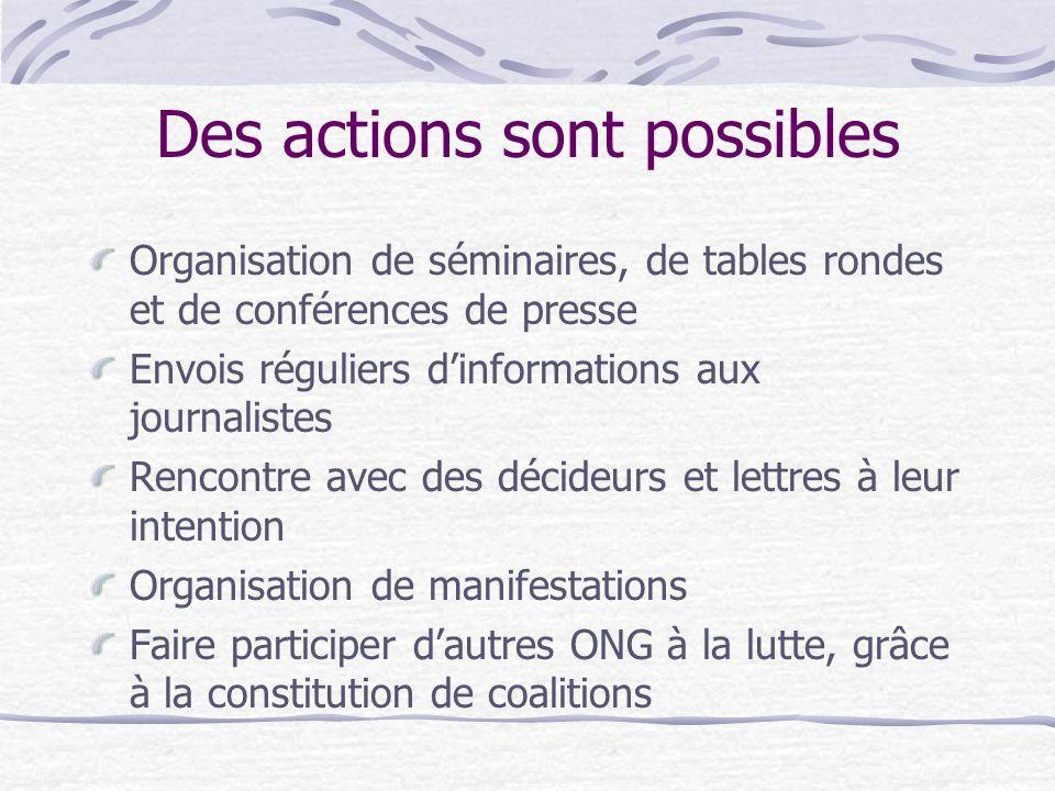 Des actions sont possibles Organisation de séminaires, de tables rondes et de conférences de presse Envois réguliers dinformations aux journalistes Re