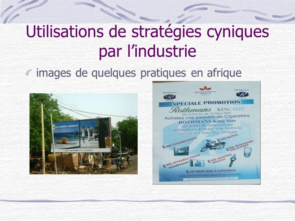 Utilisations de stratégies cyniques par lindustrie images de quelques pratiques en afrique