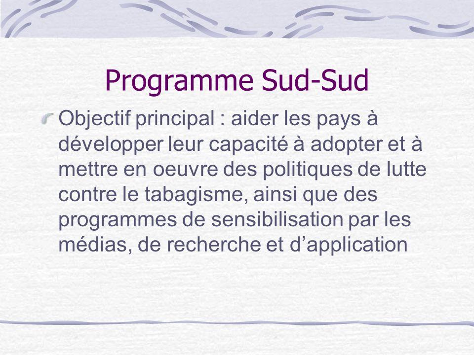 Programme Sud-Sud Objectif principal : aider les pays à développer leur capacité à adopter et à mettre en oeuvre des politiques de lutte contre le tab
