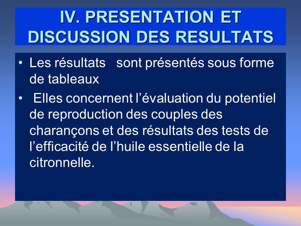 IV. PRESENTATION ET DISCUSSION DES RESULTATS Les résultats sont présentés sous forme de tableaux Elles concernent lévaluation du potentiel de reproduc