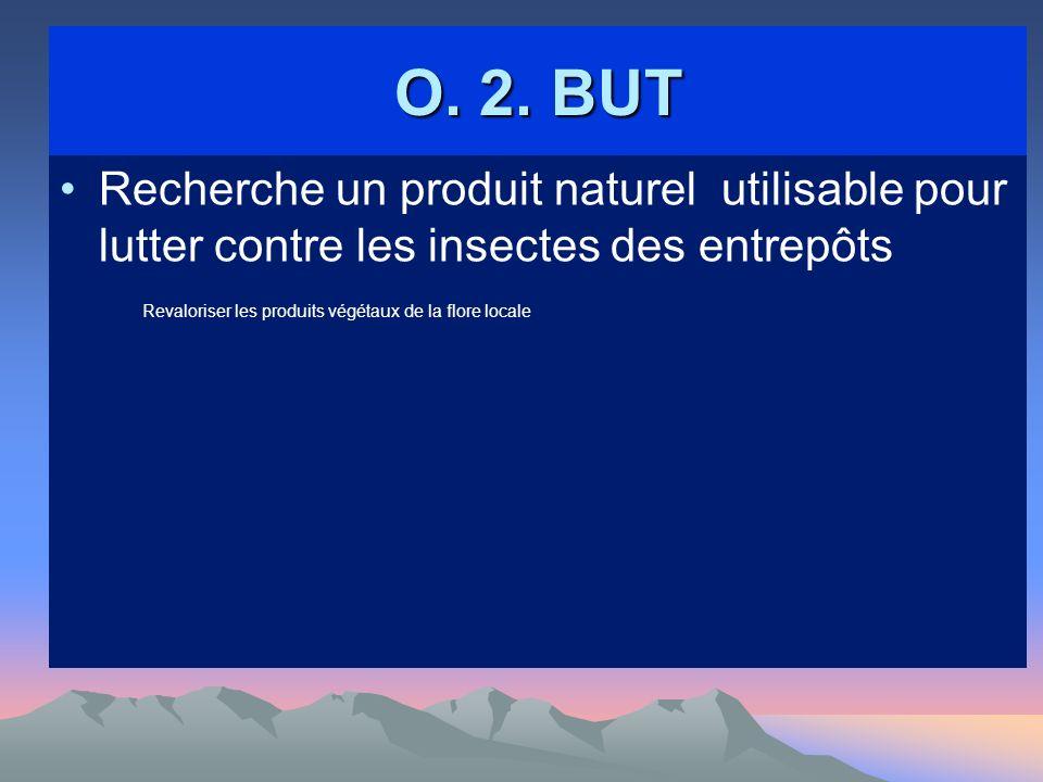 O. 2. BUT Recherche un produit naturel utilisable pour lutter contre les insectes des entrepôts Revaloriser les produits végétaux de la flore locale