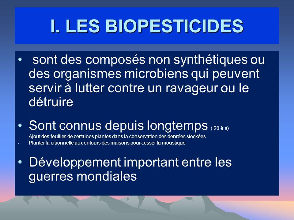 I. LES BIOPESTICIDES sont des composés non synthétiques ou des organismes microbiens qui peuvent servir à lutter contre un ravageur ou le détruire Son