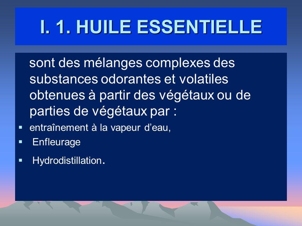 I. 1. HUILE ESSENTIELLE sont des mélanges complexes des substances odorantes et volatiles obtenues à partir des végétaux ou de parties de végétaux par