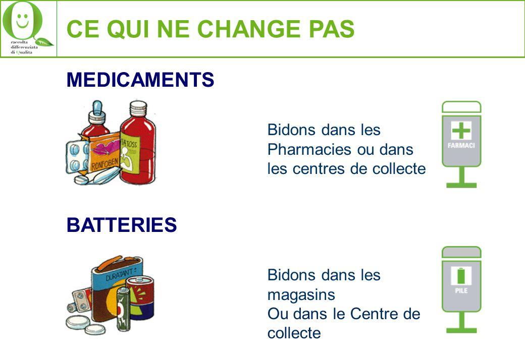 CE QUI NE CHANGE PAS MEDICAMENTS Bidons dans les Pharmacies ou dans les centres de collecte BATTERIES Bidons dans les magasins Ou dans le Centre de co
