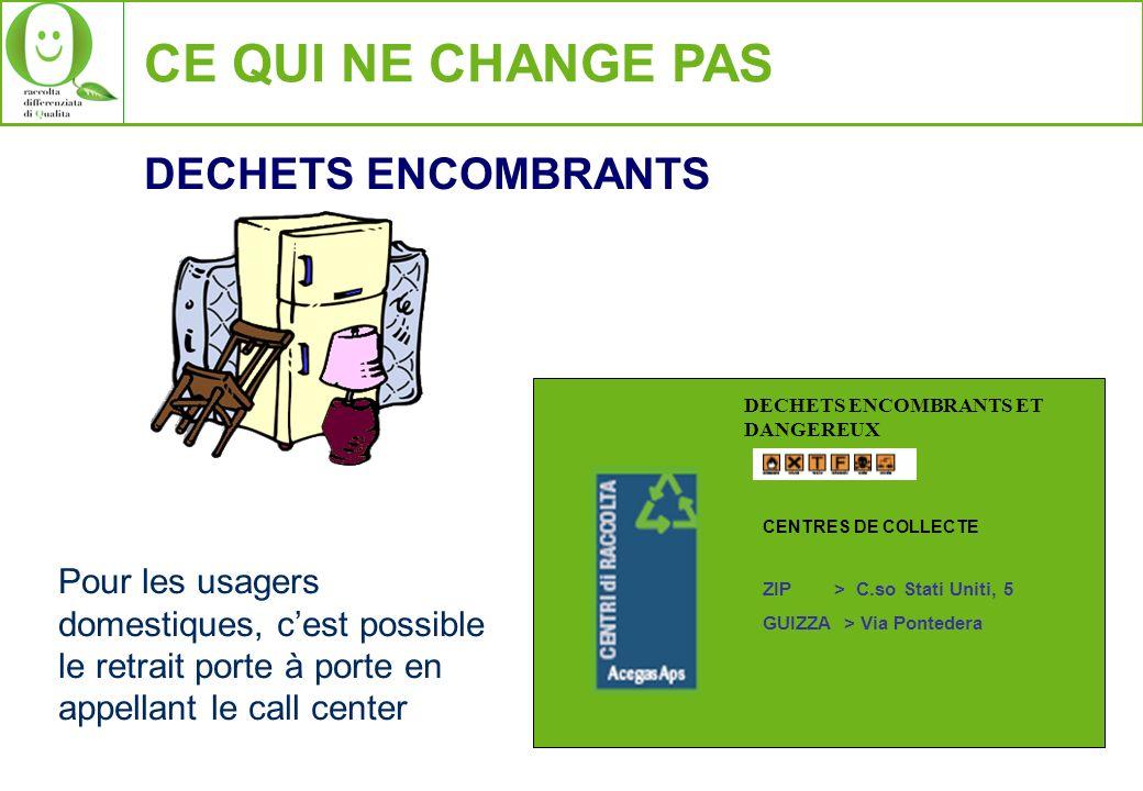 CE QUI NE CHANGE PAS DECHETS ENCOMBRANTS Pour les usagers domestiques, cest possible le retrait porte à porte en appellant le call center DECHETS ENCO