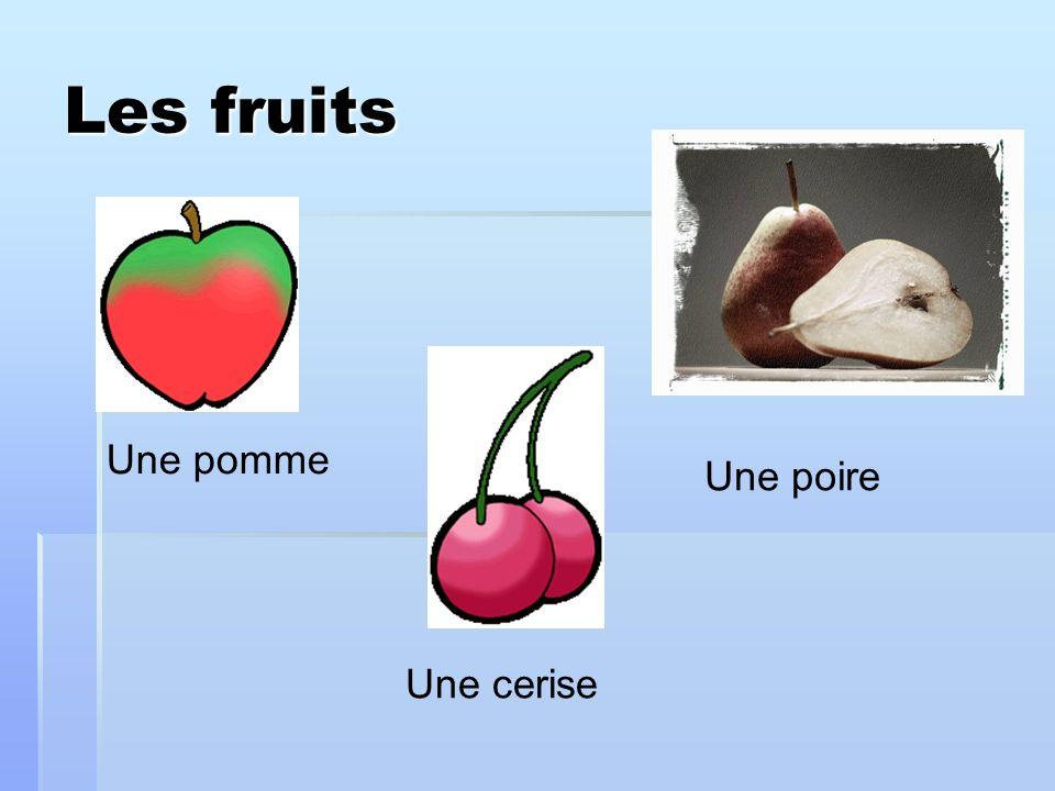 Les fruits Une pomme Une poire Une cerise