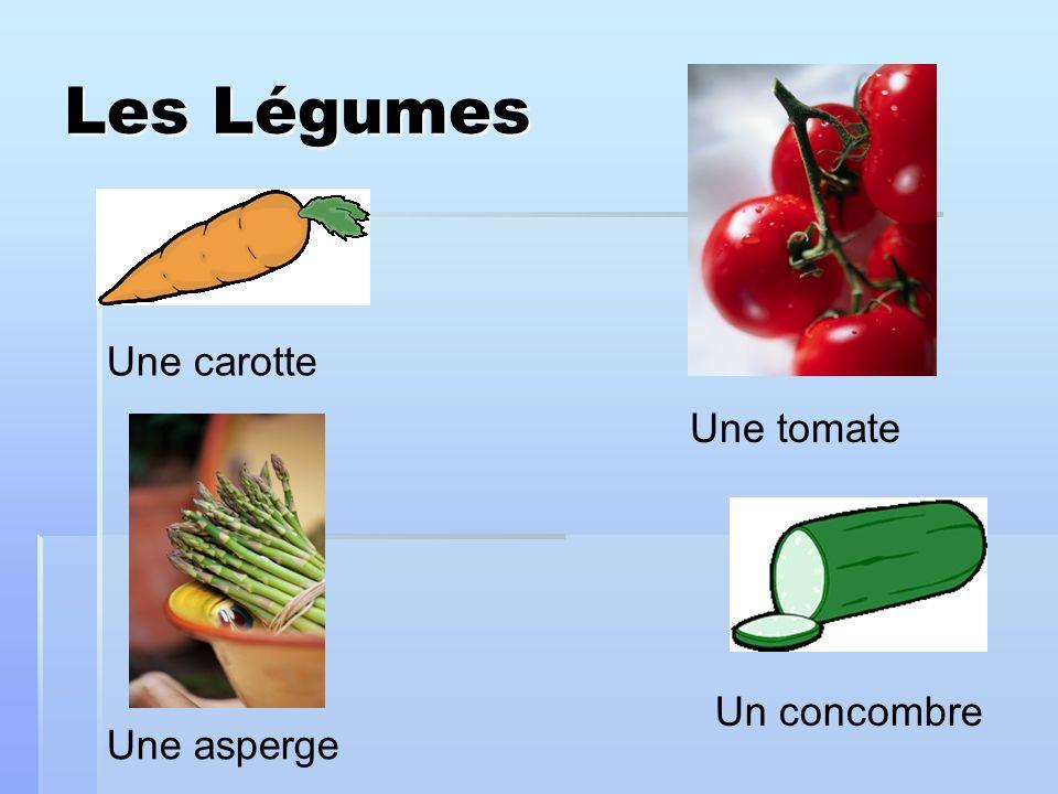 Les Légumes Une carotte Une tomate Une asperge Un concombre
