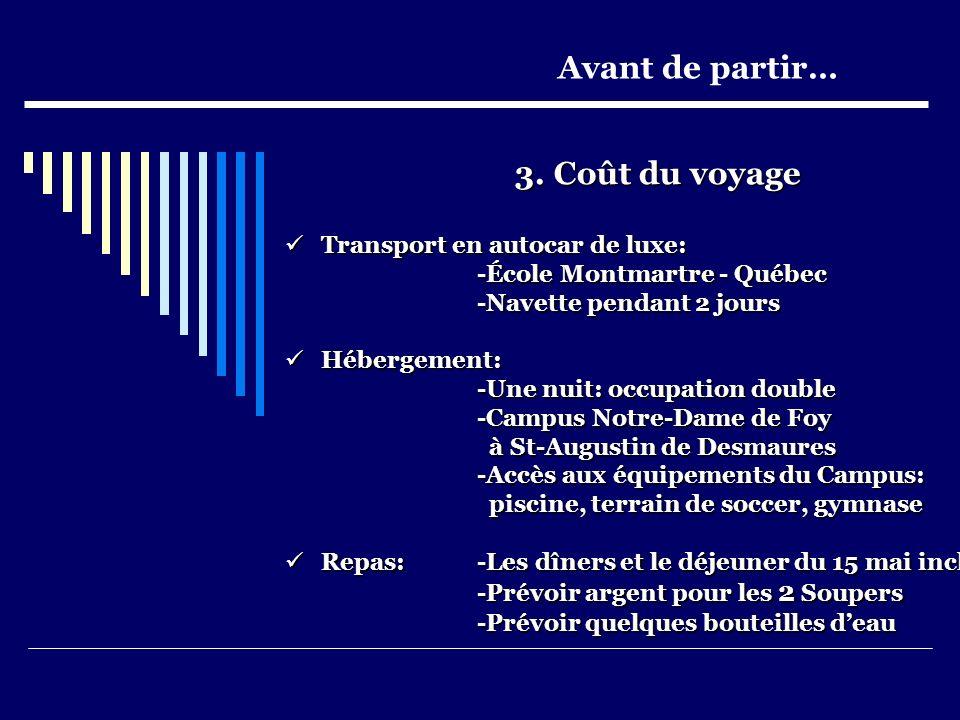 3. Coût du voyage Transport en autocar de luxe: Transport en autocar de luxe: -École Montmartre - Québec -Navette pendant 2 jours Hébergement: Héberge
