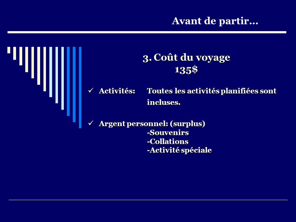 3.Coût du voyage 135$ Activités: Toutes les activités planifiées sont Activités: Toutes les activités planifiées sont incluses.