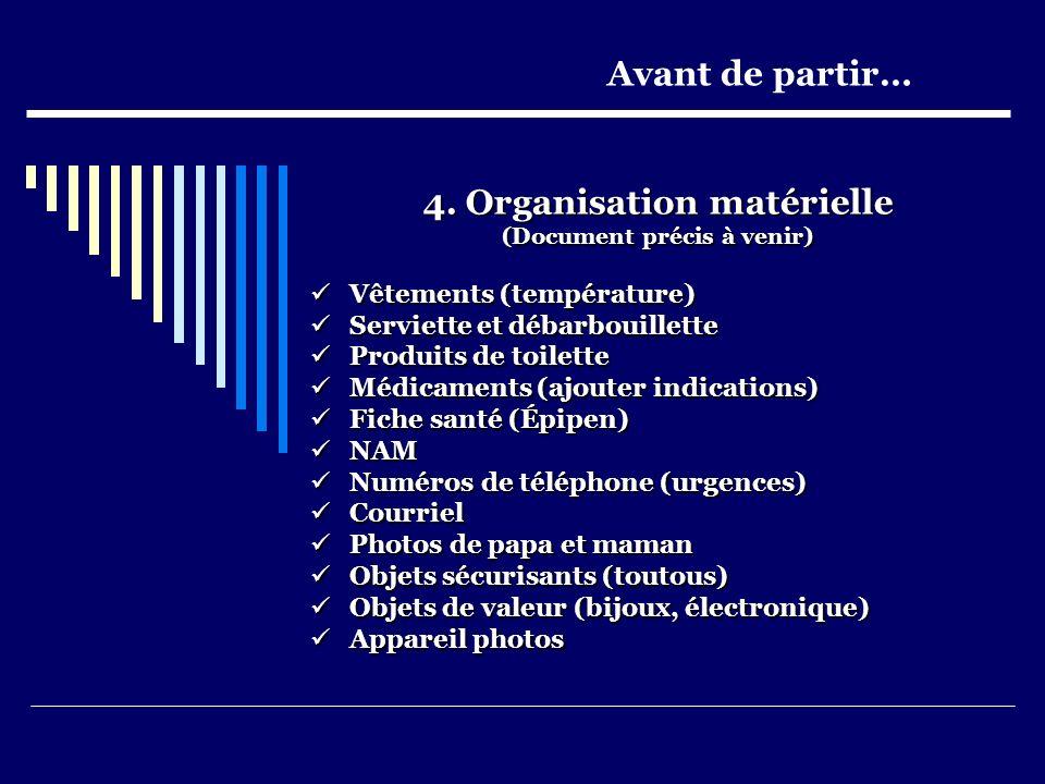 4. Organisation matérielle (Document précis à venir) Vêtements (température) Vêtements (température) Serviette et débarbouillette Serviette et débarbo
