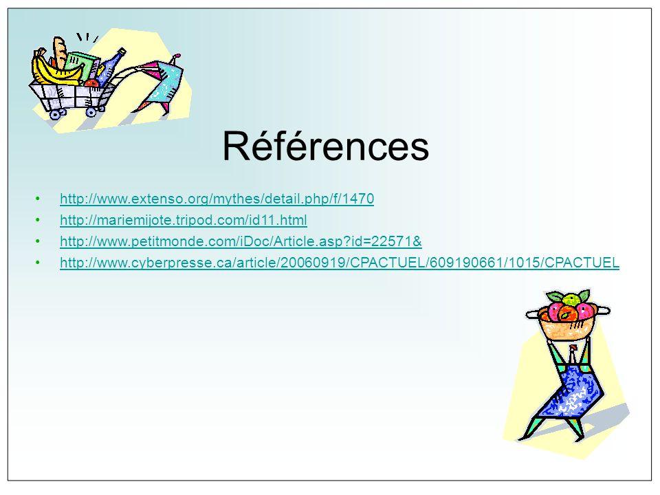 Références http://www.extenso.org/mythes/detail.php/f/1470 http://mariemijote.tripod.com/id11.html http://www.petitmonde.com/iDoc/Article.asp?id=22571