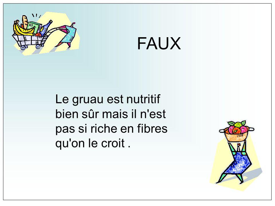 FAUX Le gruau est nutritif bien sûr mais il n'est pas si riche en fibres qu'on le croit.