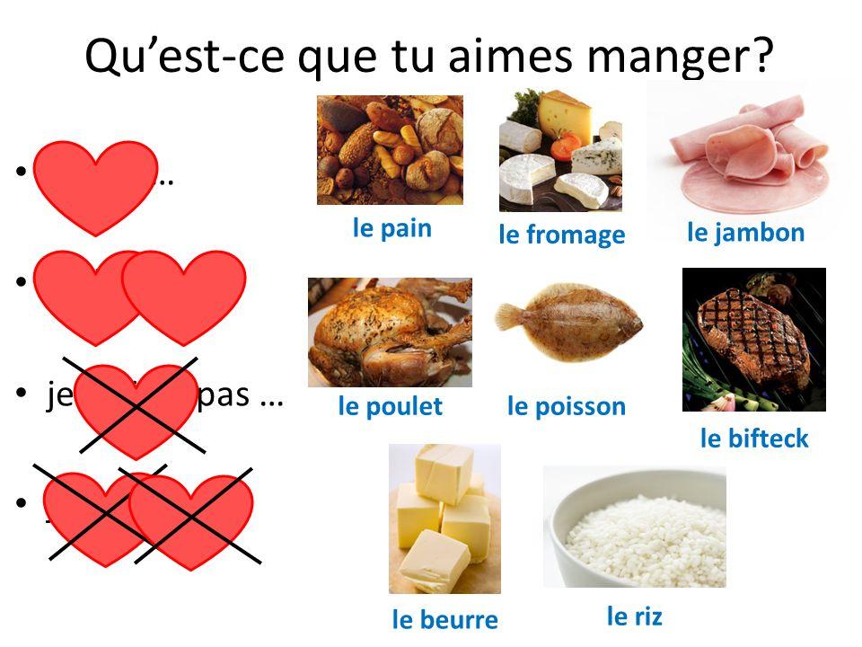 Jaime le pain, le fromage, le jambon je naime pas le poulet, le poisson je déteste le riz, mais jadore le beurre Quest-ce que tu aimes manger?