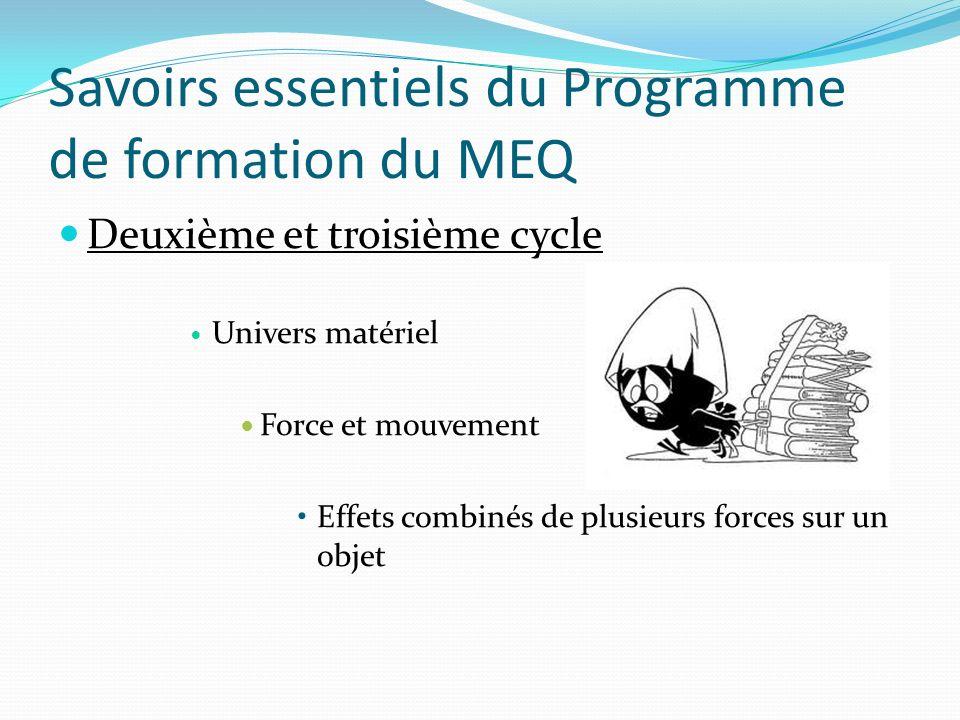 Savoirs essentiels du Programme de formation du MEQ Deuxième et troisième cycle Univers matériel Force et mouvement Effets combinés de plusieurs forces sur un objet