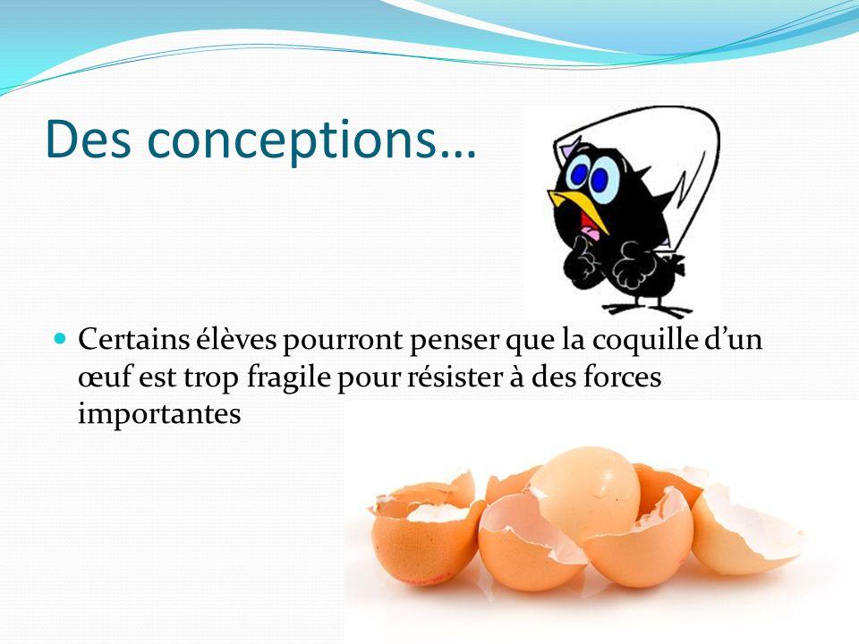 Des conceptions… Certains élèves pourront penser que la coquille dun œuf est trop fragile pour résister à des forces importantes