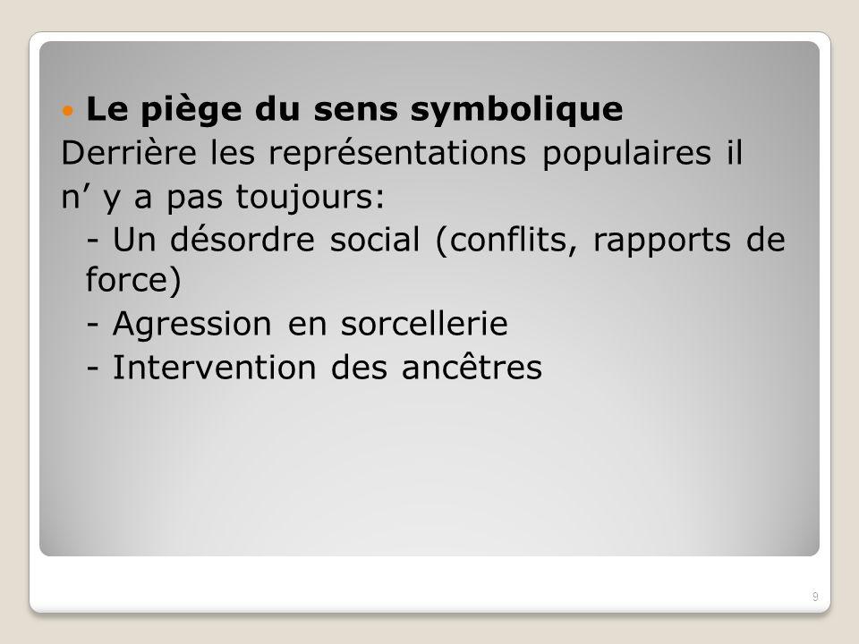 Le piège du sens symbolique Derrière les représentations populaires il n y a pas toujours: - Un désordre social (conflits, rapports de force) - Agress