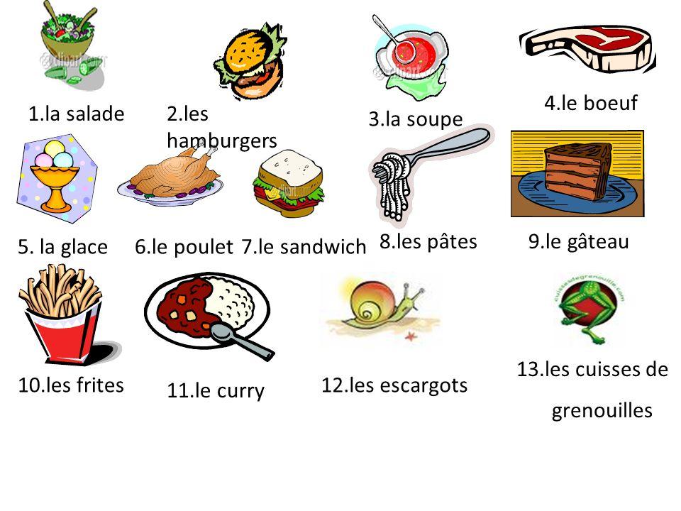 1.la salade2.les hamburgers 3.la soupe 4.le boeuf 8.les pâtes 7.le sandwich5. la glace 10.les frites 11.le curry 6.le poulet 9.le gâteau 12.les escarg