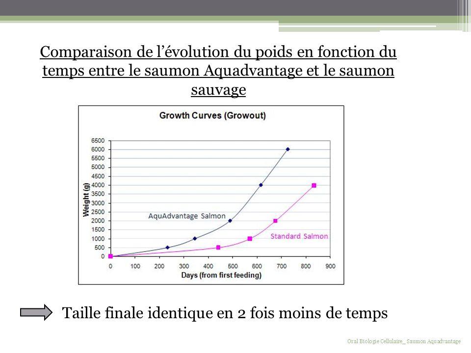 Taille finale identique en 2 fois moins de temps Comparaison de lévolution du poids en fonction du temps entre le saumon Aquadvantage et le saumon sau