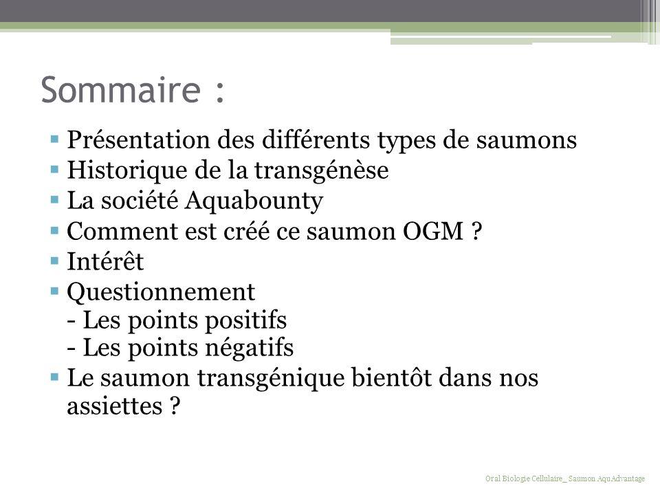 Sommaire : Présentation des différents types de saumons Historique de la transgénèse La société Aquabounty Comment est créé ce saumon OGM ? Intérêt Qu