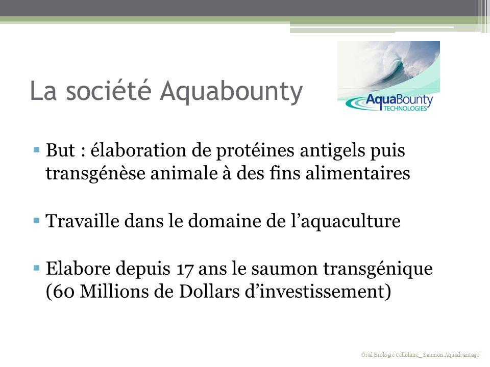 La société Aquabounty But : élaboration de protéines antigels puis transgénèse animale à des fins alimentaires Travaille dans le domaine de laquacultu