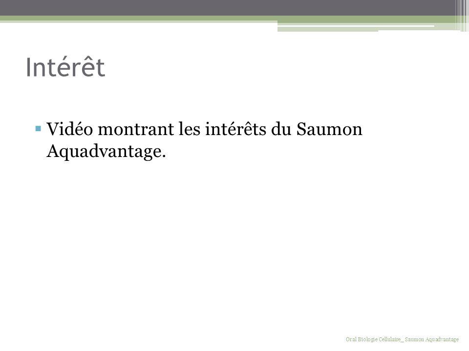 Intérêt Vidéo montrant les intérêts du Saumon Aquadvantage. Oral Biologie Cellulaire_ Saumon Aquadvantage