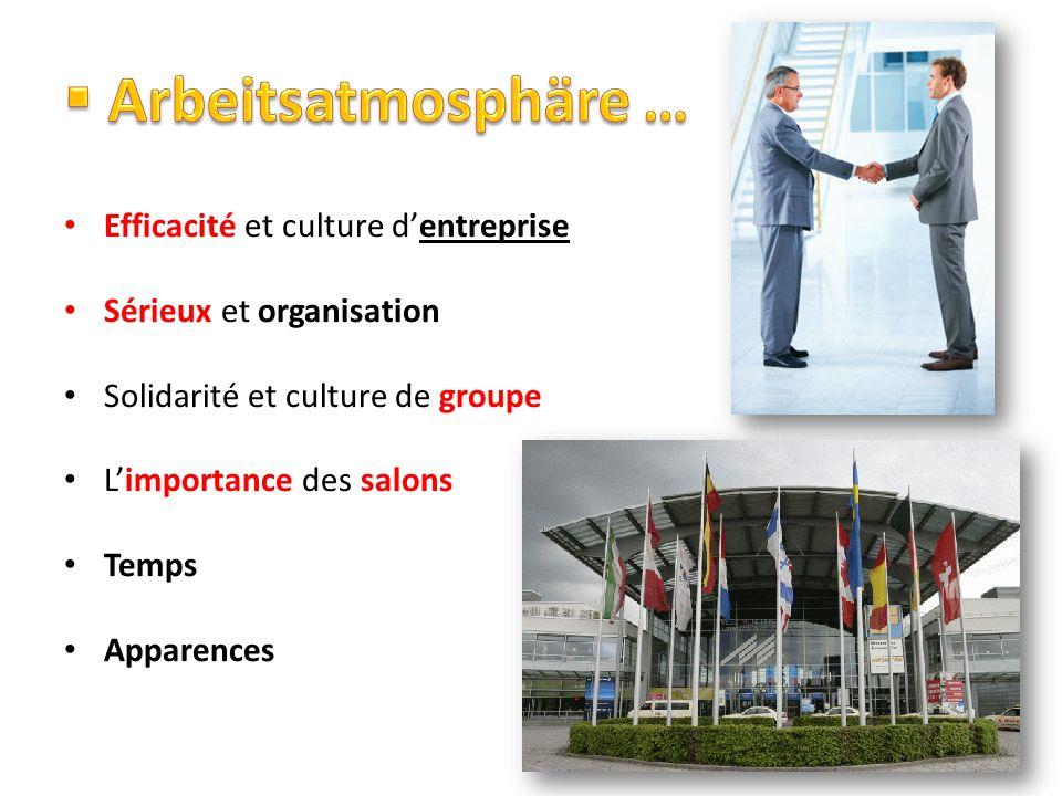 Efficacité et culture dentreprise Sérieux et organisation Solidarité et culture de groupe Limportance des salons Temps Apparences