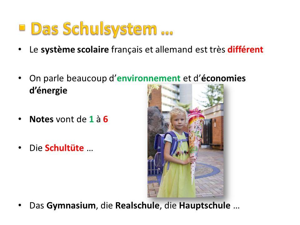 Le système scolaire français et allemand est très différent On parle beaucoup denvironnement et déconomies dénergie Notes vont de 1 à 6 Die Schultüte