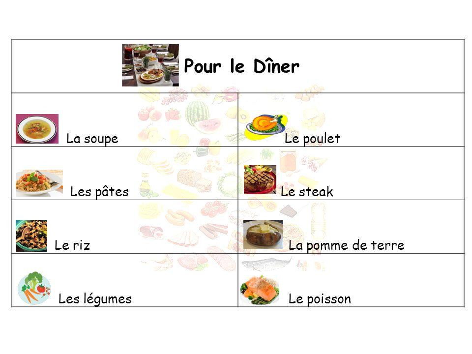 Pour le Dîner La soupe Le poulet Les pâtes Le steak Le riz La pomme de terre Les légumes Le poisson