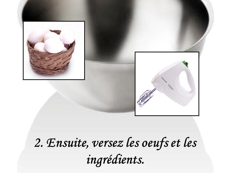 2. Ensuite, versez les oeufs et les ingrédients.